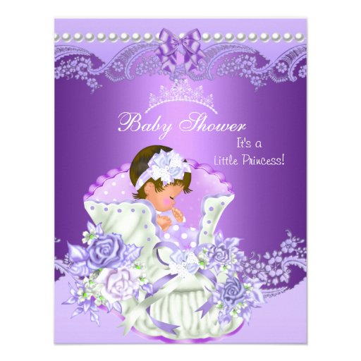 Little Princess Baby Shower Girl Purple Tiara Vint Custom Invitation