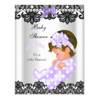 Little Princess Baby Shower Girl Purple White 2 Personalized Invites