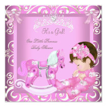 Little Princess Baby Shower Girl Rocking Horse 3 Invitation