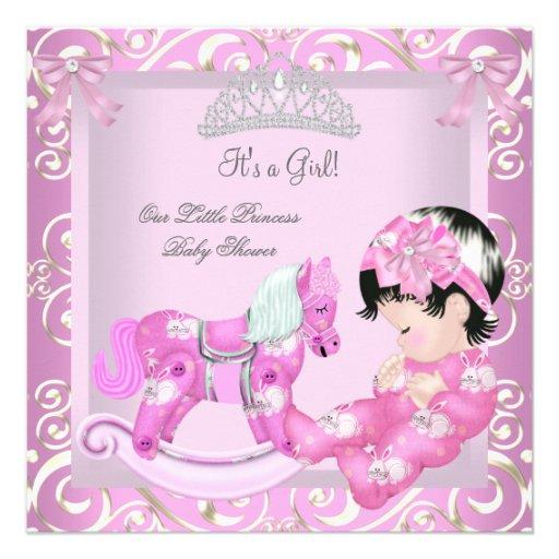Personalized rocking horse baby girl shower invitations little princess baby shower girl rocking horse 5 custom invitation filmwisefo