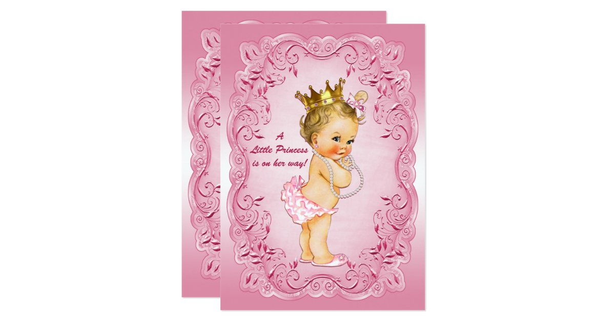 little princess baby shower gold crown pink frame card zazzle