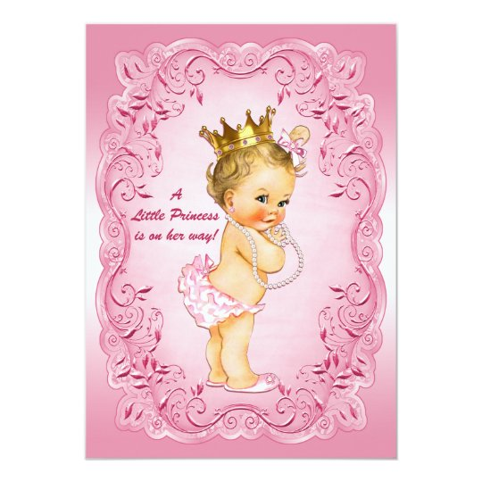 little princess baby shower gold crown pink frame card
