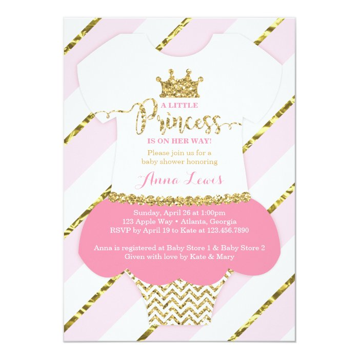 little princess baby shower invitation pink gold card zazzle