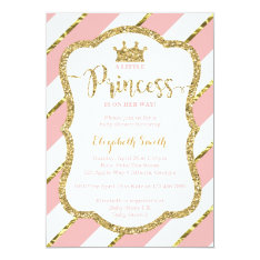 Little Princess Baby Shower Invite, Faux Glitter Card at Zazzle