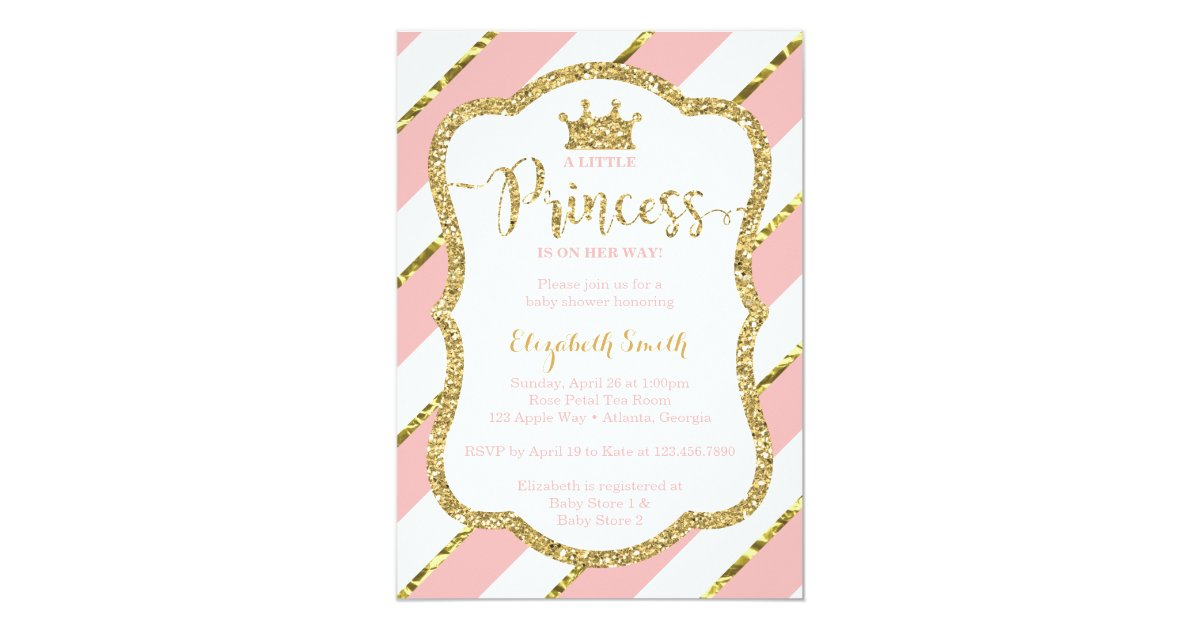 Little Princess Baby Shower Invite, Faux Glitter Card | Zazzle.com