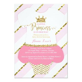 Little Princess Baby Shower Invite, Faux Glitter Card