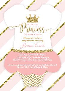 Baby shower invitations zazzle little princess baby shower invite faux glitter card filmwisefo Gallery