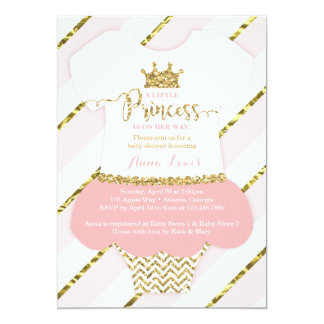 Little Princess Baby Shower Invite, Faux Glitter Card