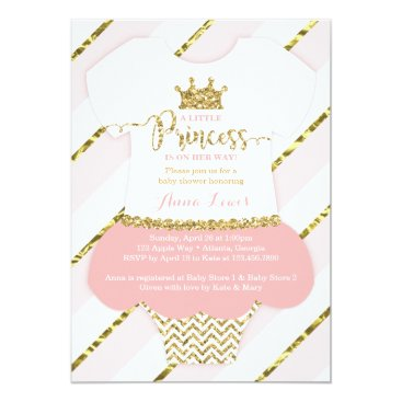 Toddler & Baby themed Little Princess Baby Shower Invite, Faux Glitter Card