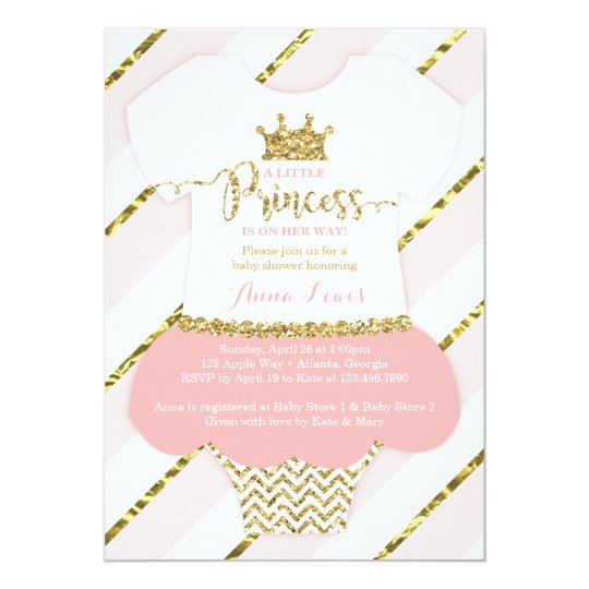 Little Princess Baby Shower Invite Faux Glitter Card  ZazzleCom