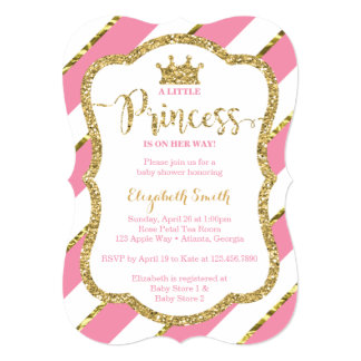 High Quality Little Princess Baby Shower Invite, Faux Glitter Card