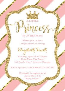 Princess baby shower invitations announcements zazzle little princess baby shower invite faux glitter invitation filmwisefo