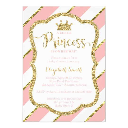 Little Princess Baby Shower Invite Faux Glitter Invitation Zazzle Com