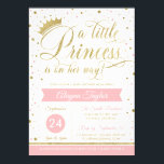 """Little Princess Baby Shower Invite, Faux Glitter Invitation<br><div class=""""desc"""">Hoisting a shower? Invite guests with this adorable invitation! ***Glitter/foil is an embedded image of glitter and foil and will print flat as shown. No actual glitter/foil will be on this item***</div>"""