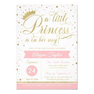 Little Princess Baby Shower Invite Faux Glitter Invitation