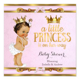 Little Princess Baby Shower Pink Gold Brunette Card