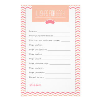 Little Princess Baby Shower Wishes for Baby Stationery