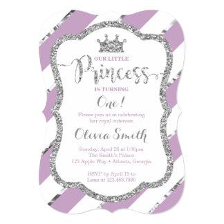 Little Princess Birthday Invitation Purple Silver