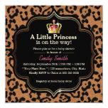 Little Princess Crown Leopard Print Baby Shower 5.25x5.25 Square Paper Invitation Card