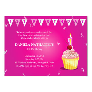 Little Princess' Cupcake 1st Birthday Party Card