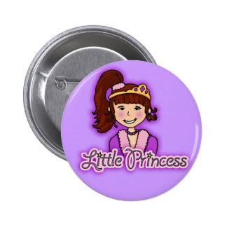 """Little Princess"" dark hair girl purple button"