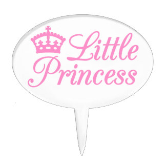 Little princess, design with pink crown for baby cake picks