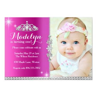 "Little Princess First Birthday Invitation 5"" X 7"" Invitation Card"