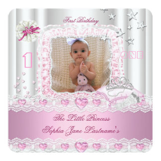 Little Princess First Birthday Party Photo 2 Invitation
