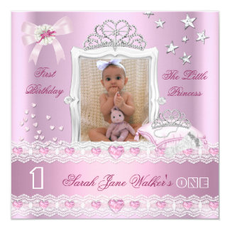 Little Princess First Birthday Party Photo Card
