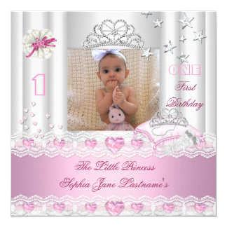 Little Princess First Birthday Party Photo Invitation