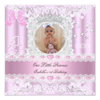 Little Princess First Birthday Party Photo 5.25x5.25 Square Paper Invitation Card