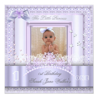 Little Princess First Birthday Party Photo Lilac 2 Invitation