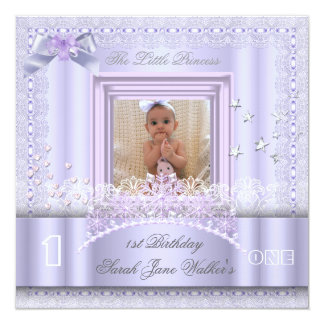 Little Princess First Birthday Party Photo Lilac Invitation