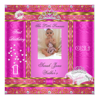 Little Princess First Birthday Party Photo Pink Invitation