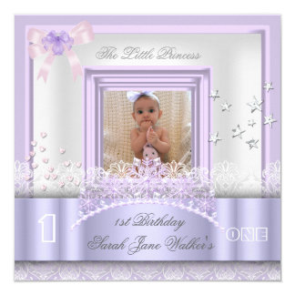 Little Princess First Birthday Party Photo Purple Card
