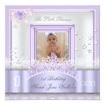 Little Princess First Birthday Party Photo Purple Custom Announcements