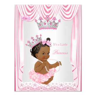 Little Princess Girl Baby Shower Pink Ethnic Card