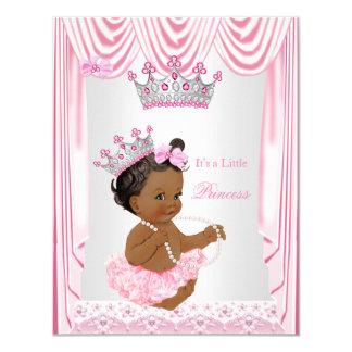 Little Princess Girl Baby Shower Pink Ethnic Card