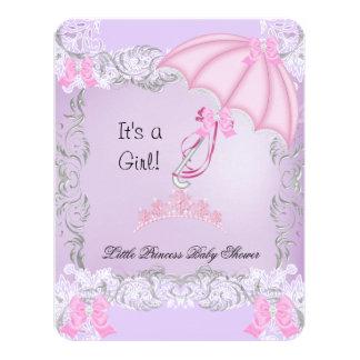 Little Princess Girl Baby Shower Pink Purple Gray 4.25x5.5 Paper Invitation Card