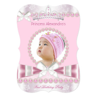 Little Princess Girl First 1st Birthday Party 5x7 Paper Invitation Card