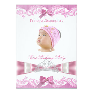 Little Princess Girl First Birthday Party Photo 4.5x6.25 Paper Invitation Card