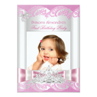 Little Princess Girl First Birthday Party Photo 5x7 Paper Invitation Card
