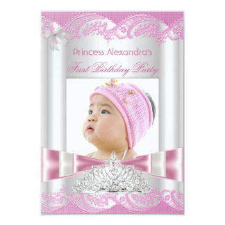 Little Princess Girl First Birthday Party Photo Card