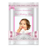 "Little Princess Girl First Birthday Party Photo 3.5"" X 5"" Invitation Card"