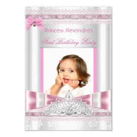 Little Princess Girl First Birthday Party Photo 3.5x5 Paper Invitation Card