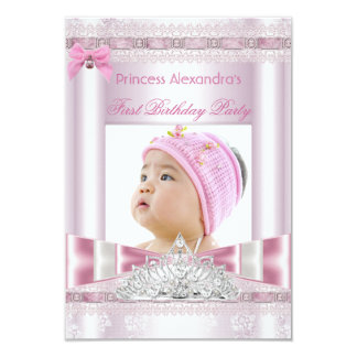 """Little Princess Girl First Birthday Party Photo 3.5"""" X 5"""" Invitation Card"""