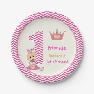Little princess girls 1st birthday chevron border paper plate