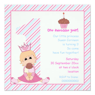 Little princess girls 1st birthday pink blue custom announcement