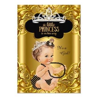 Little Princess is on her way Baby Shower Brunette Card