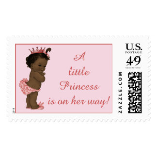 Little Princess is on Her Way Vintage Ethnic Baby Stamp